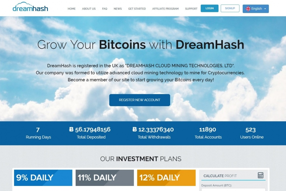 Een screencap van de DreamHash-website, een Cloud Mining Scam