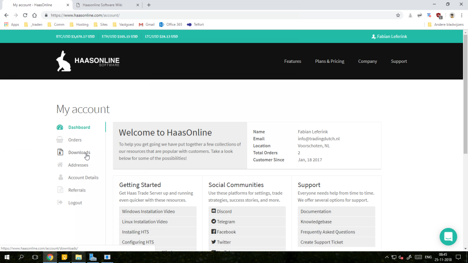 de optie downloads in het linker menu van de haasonline website